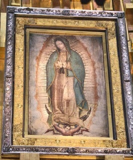 Image of Out Lady Guadalupe on St. Juan Diego's tilma in the public domain